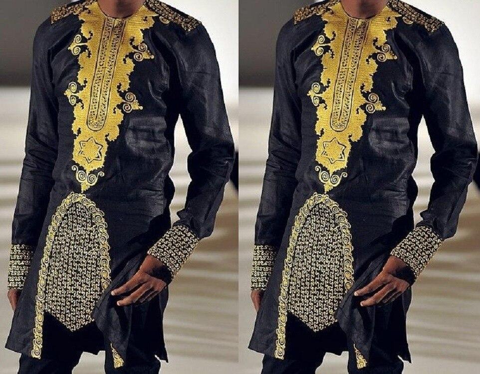 الثراء بازان جديد dashiki الأفريقية نمط الرجال الملابس التقليدية الوطنية الساخنة الذهب المطبوعة قميص طويل الأكمام