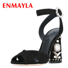 ENMAYLA Summer Shoes Women Open Toe Rhinestone High Heels Sandals Genuien Leather Strappy Sandals Women Crystal Pumps Shoe Woman runway crystal rhinestone rivets studded women pumps slingback pointed toe summer sandals kitten heels crystal shoes women