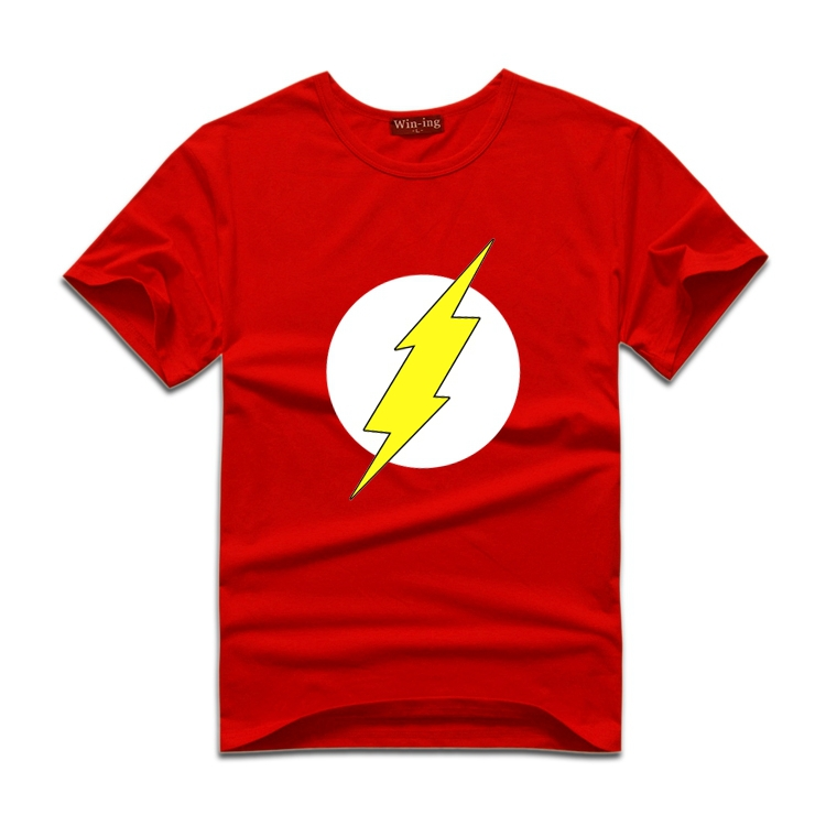 Official DC Comics The Flash T Shirt Distressed Logo Sheldon Big Bang Theory Red