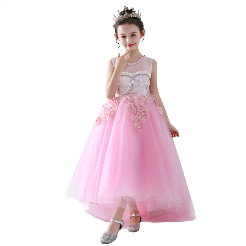 New Teenage Girls Beading Flowers Trailing Princess Dress Toddler Girl Clothing Vestido Kids Dresses For Girls Wedding Party F08New Teenage Girls Beading Flowers Trailing Princess Dress Toddler Girl Clothing Vestido Kids Dresses For Girls Wedding Party F08