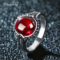 JIASHUNTAI Retro 925 Sterling Silver Round Rings Vintage Thai Silver Red Blue Stone Jewelry For Women The Sun Of Silver