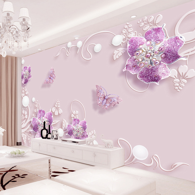 Custom Any Size Modern Wall Wallpaper Pearl Butterfly Silk: Custom Any Size Murals Wallpaper Modern Romantic Fashion