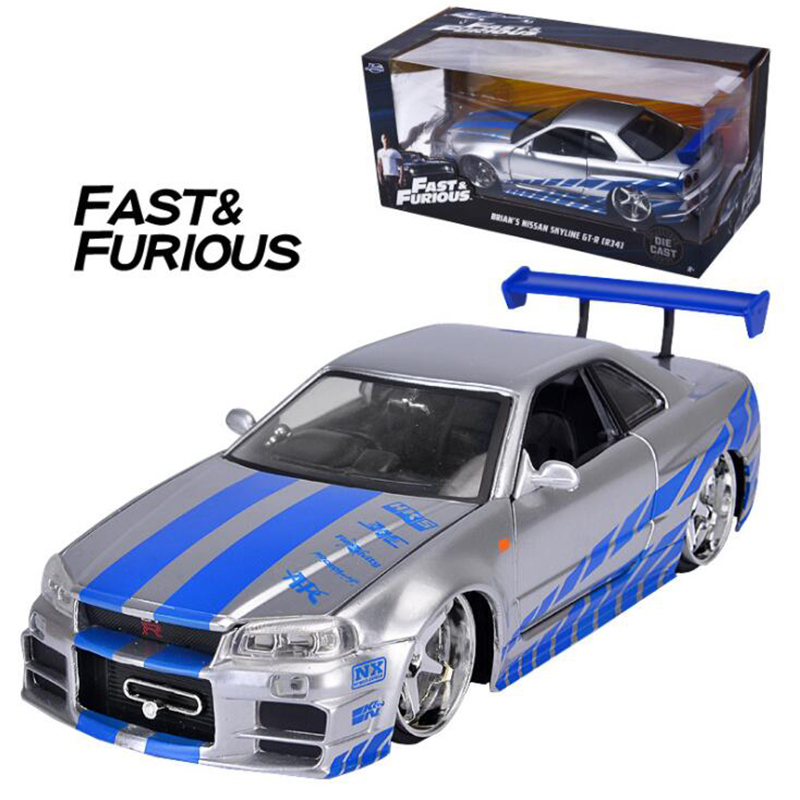 20.5CM 1:24 Scale Metal Alloy 2002 GTR R34 Fast Racing Car Model Diecast Vehicles Toys For Children Collection-in Diecasts & Toy Vehicles from Toys & Hobbies    1