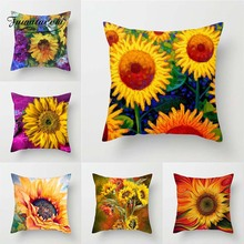 Fuwatacchi Sunflower Painted Cushion Splendid Flower Plant Pillow Cover For Home Chair Pillowcases Sofa Decoration New 2019