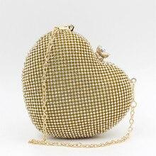 Herzform Abendtasche Mini-kette Umhängetaschen Frauen Handtaschen Damen Clutch Hochzeit Tasche