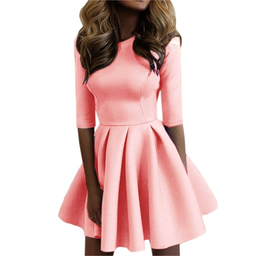 1e3736a1b4 2018 Autumn Women s Three Quarter Sleeve Slim A-Line Mini Dresses Sexy  Casual Solid Mini