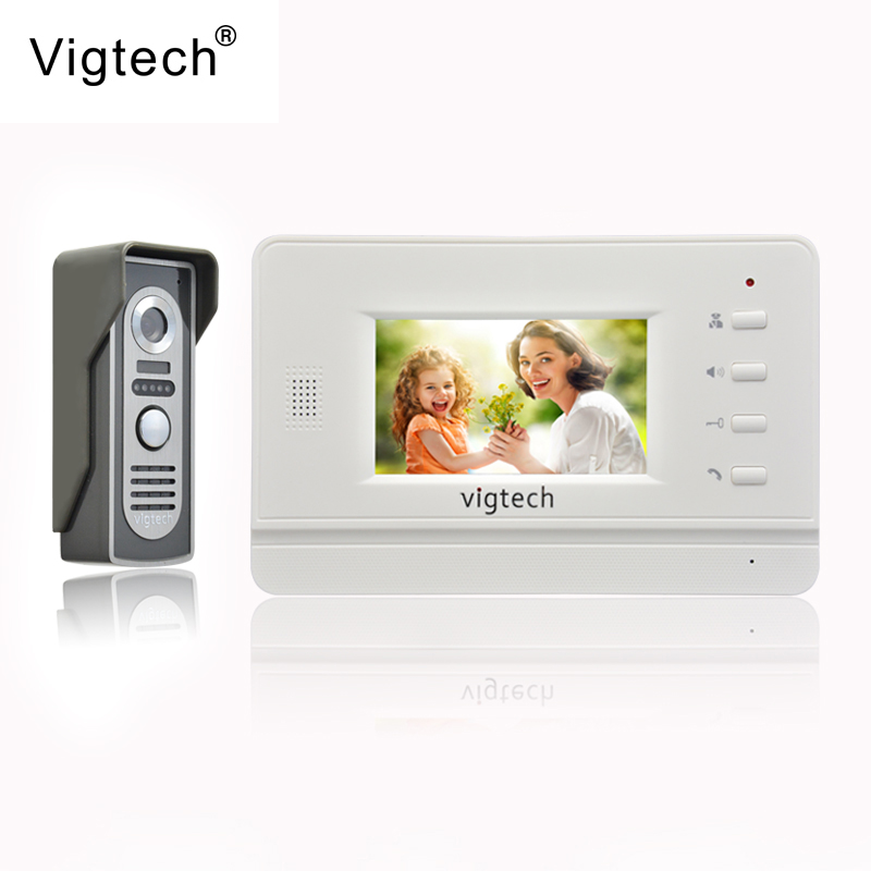 Vigtech Home Wired Cheap 4.3' inch LCD Color Video Door Phone DoorBell Intercom System IR Night vision Camera FREE SHIPPING 7 inch color tft lcd wired video door phone home doorbell intercom camera system with 1 camera 1 monitor support night vision