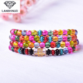 supply of male and female counter multi ring bracelet with six words 108 frizzling crystal beads crystal jewelry sales