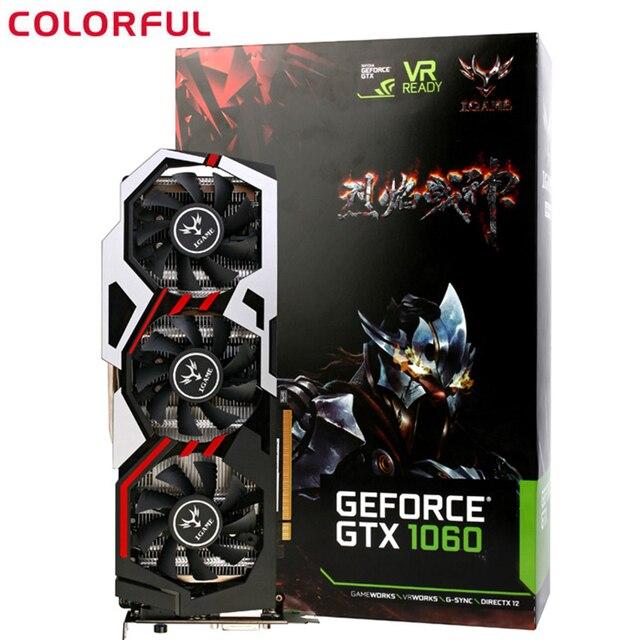 Đầy màu sắc IGame1060 U-3GD5 Máy Tính Để Bàn Card Đồ Họa GeForce GTX 1060 GPU 8008 MHz Chip 192bit GDDR5 PCI-E 3.0 DVI + HDMI + 3 * DP 3 người hâm mộ