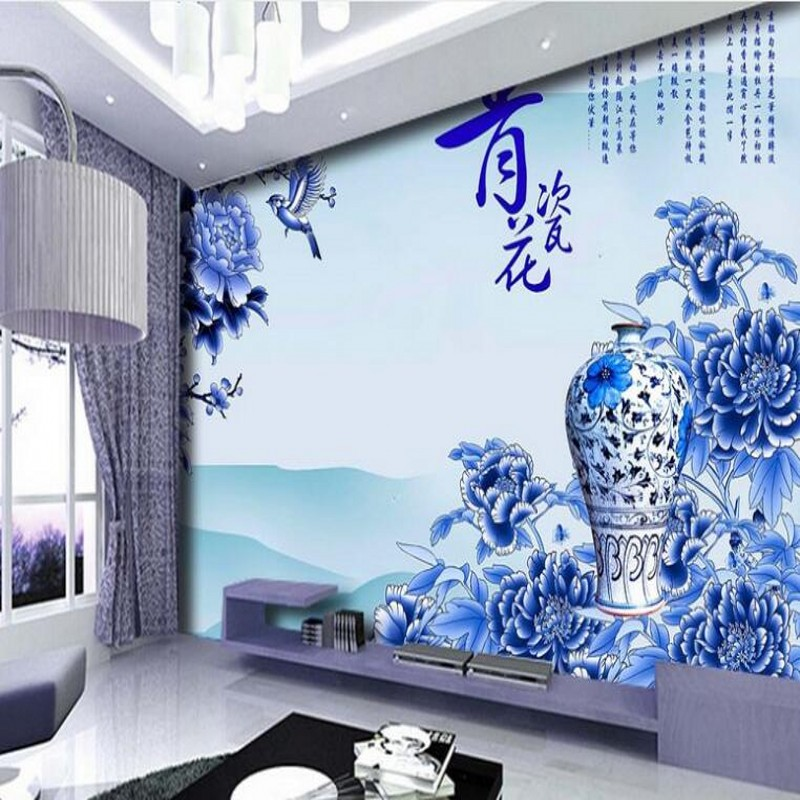 Beibehang Custom Large Scale Murals Chinese Style Blue And