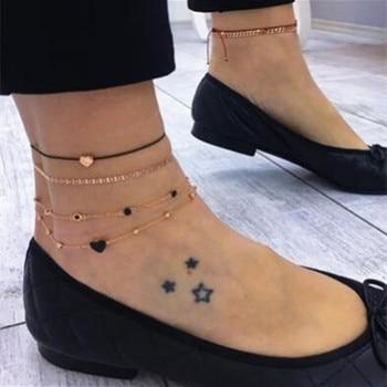Beach Bohemia Retro Anklet Fashion love multi-layer anklet combination set ornament jewelry accessories