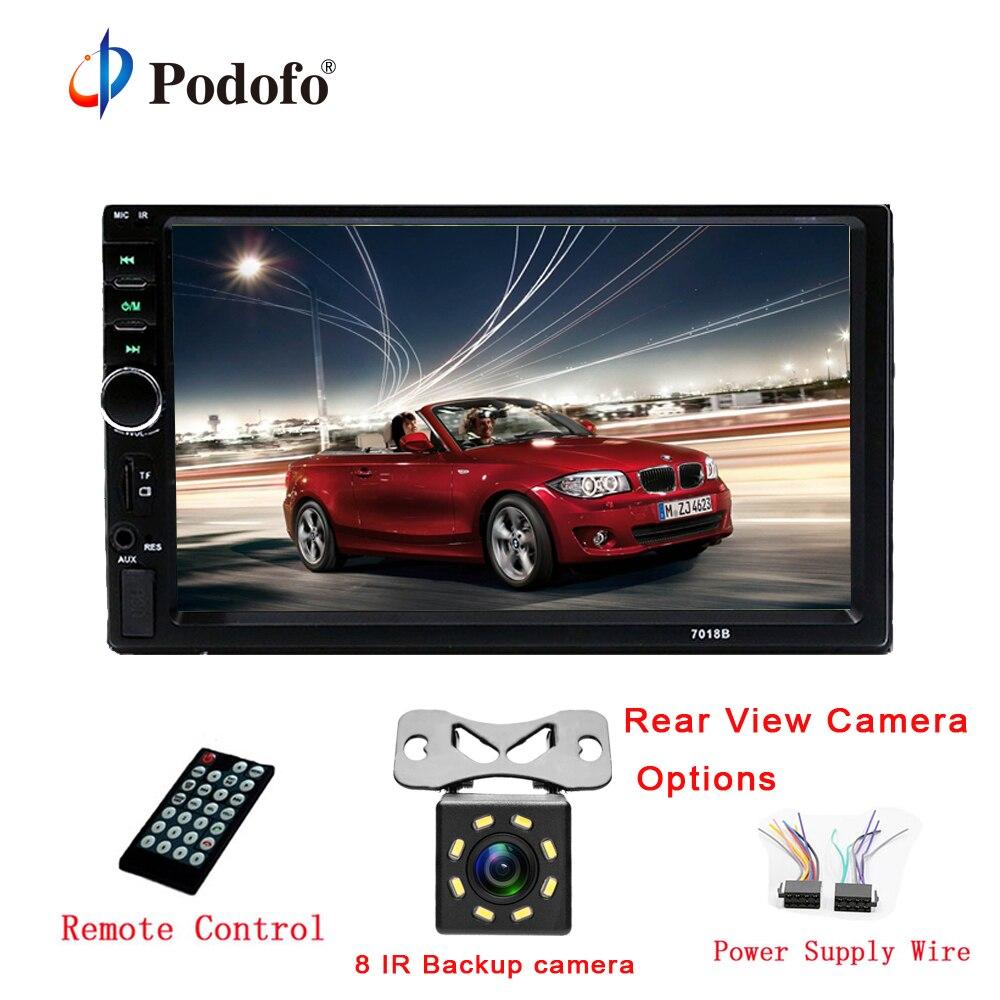 Podofo Autoradio 2 Din Car Radio 7″ HD Touch Screen Audio Car Stereo Bluetooth Video MP5 Multimedia Player Rear View Camera