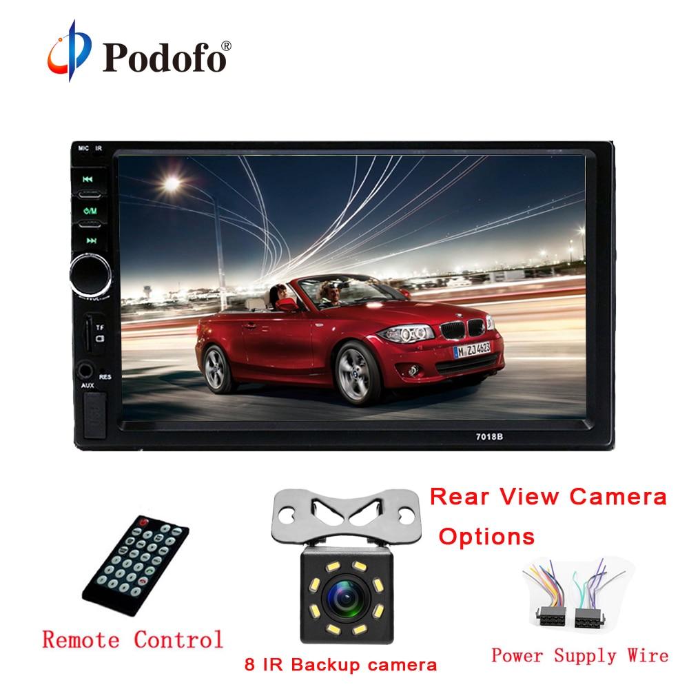 Podofo Autoradio 2 Din Voiture Radio 7 HD Écran Tactile Audio Stéréo Bluetooth Vidéo MP5 Multimédia Lecteur 7018B Arrière vue Caméra