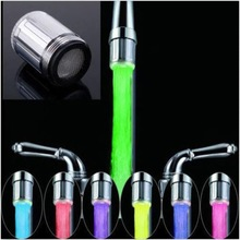 2016 Hot  Peculiar  LED Water Faucet Stream Light 7 Colors Automatically Changing Glow Shower Tap Head Kitchen Pressure Sensor