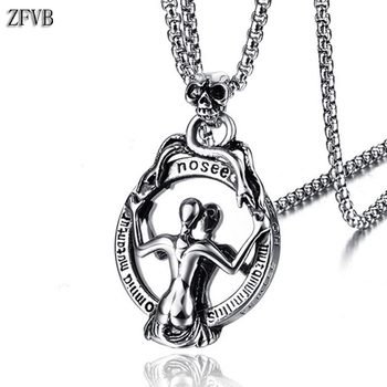 ZFVB Punk Skull Necklace Men Women Chain Stainless Steel Gothic Biker Mirror Pendant Necklaces Male Halloween Jewelry Gift