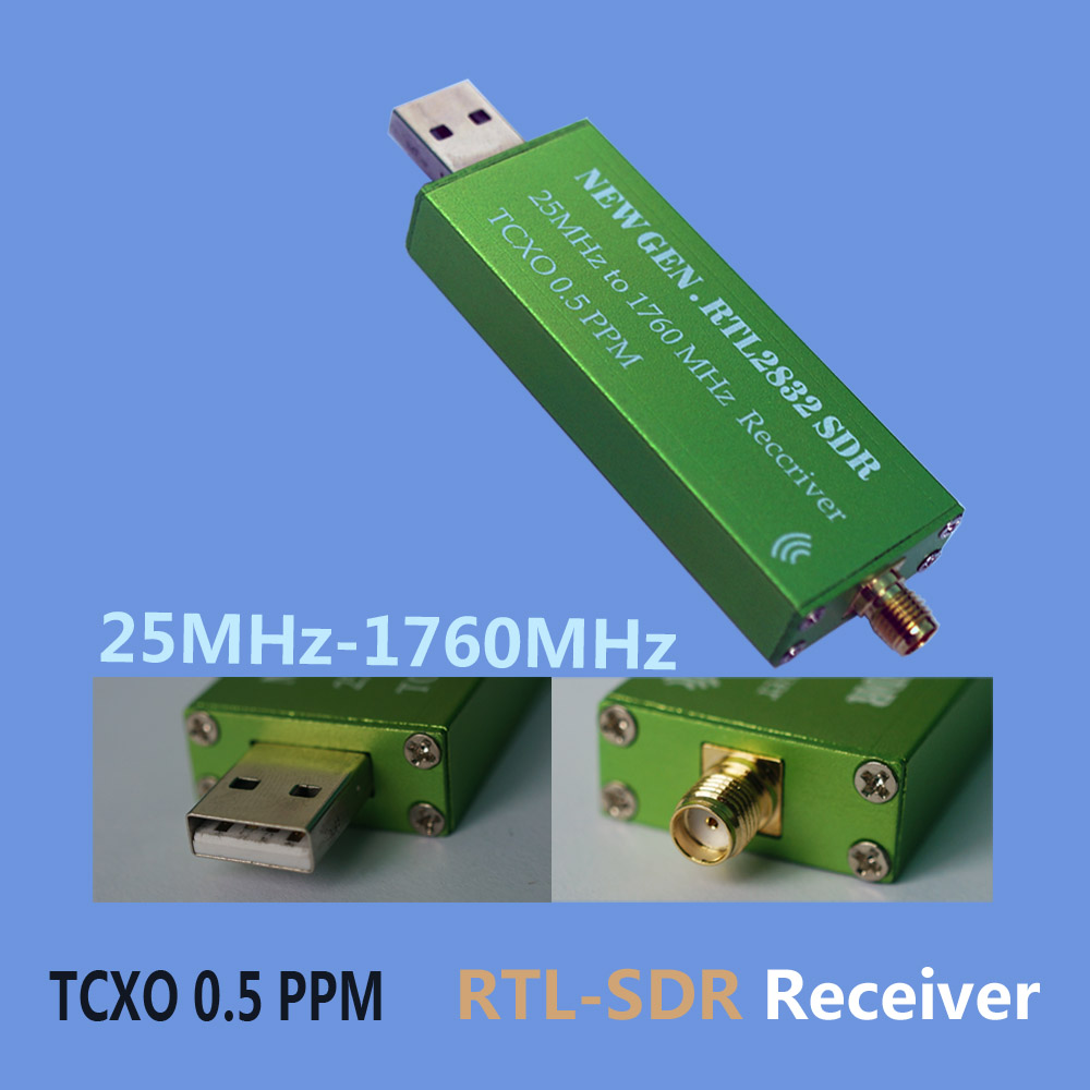 High Stability 25MHZ To 1760MHZ  RTL-SDR Receiver 0.5PPM TXCO Support AM/NFM/FM/DSB/USB/L RTL2382U DVB-T RTL SDR Receiver