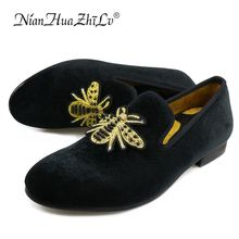 2017 New Western Style handmade luxurious embroidery men velvet shoes Comfortable business wedding