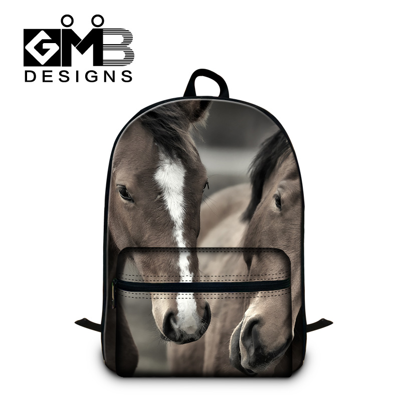 Horse School Backpack for Laptop Children rucksack bookbags cool book bags for teens trendy day pack for boys animal back pack