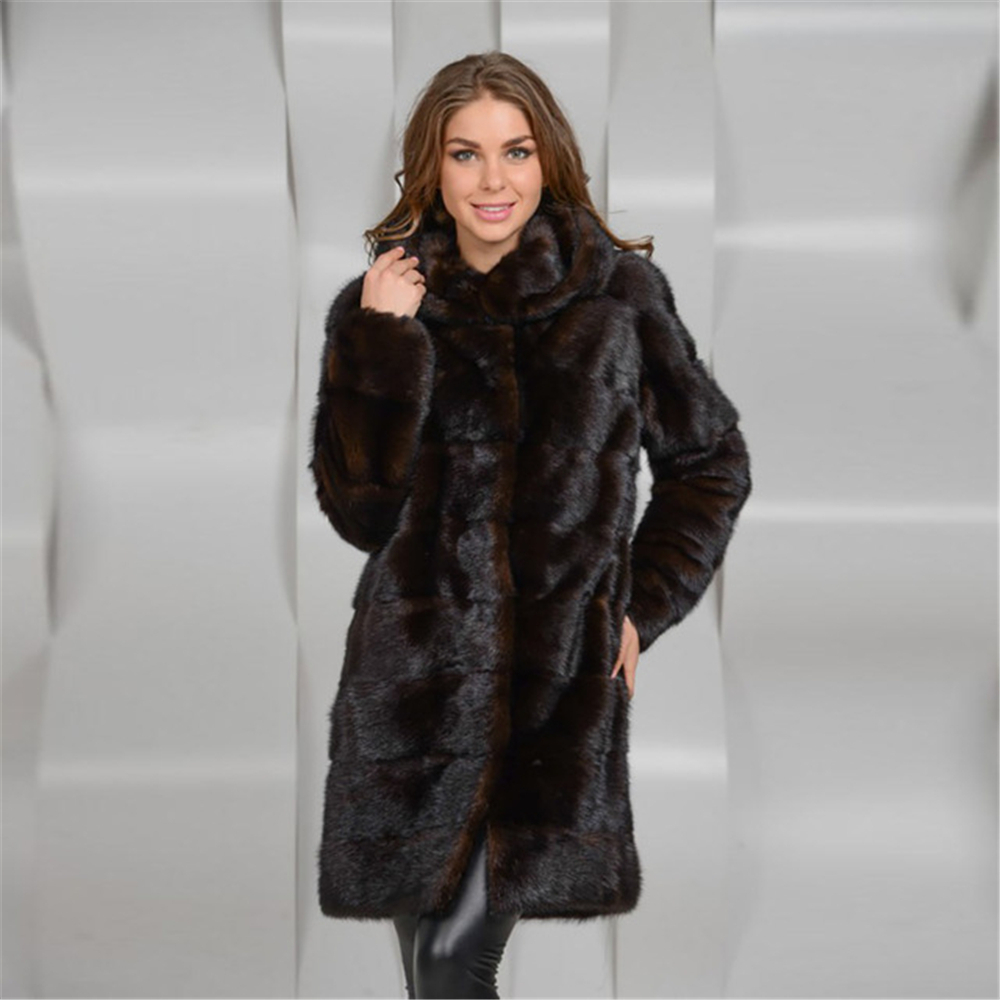 Winter Furealux Real Mink Fur Coat Women With Hood Thick Warm Natural Mink Fur Outwear Genuine Leather Real Fur Coat Female Long