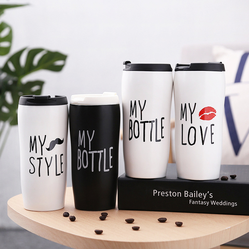 Creative ceramic water mug with lid,,<font><b>Coffe</b></font> <font><b>Cup</b></font> Xmas Gift Collection,Ceramic Milk Tea <font><b>Cup</b></font> Breakfast Morning Mugs Funny Gift 450ml image