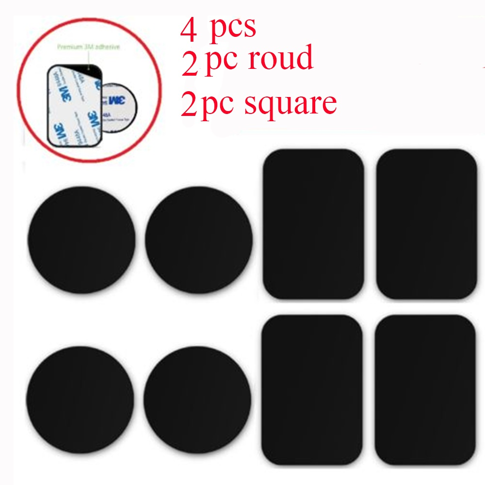 SEKINNEW 4PCS Metal Plates Adhesive Sticker Replace For Magnetic Car Mount Phone Holder Round Square Replacement