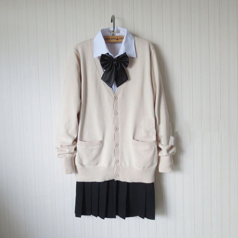 Japanese Women JK Student Sweater Cardigan School Uniform Skirt Bow Set Women School Uniform Full Outfit