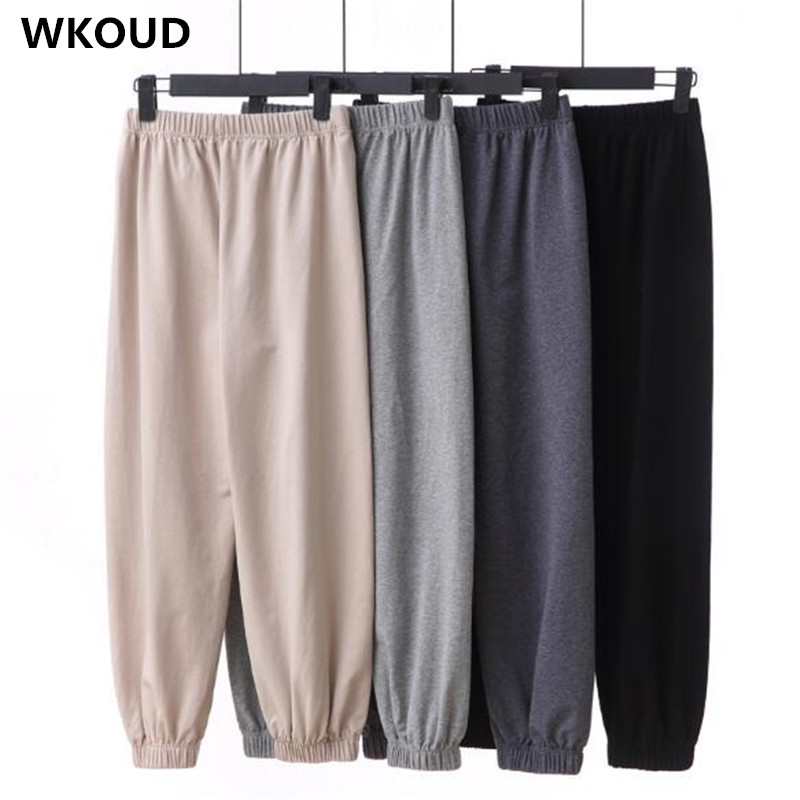 WKOUD 2019 High Waist Women   Wide     Leg     Pants   Candy Color Ankle-length Thin Summer Solid   Pants   Loose Cool Casual Trousers P9091