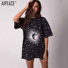 лучшая цена AIPEACE Fashion Women T-Shirts  fashion casual short Sleeve Tops women loose o-neck Print Tee T-shirt women long style tee dress