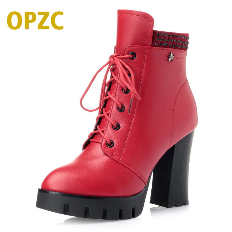 OPZC New High-heeled genuine leather women winter boots thick wool warm women Martin boots high-quality female British boots 2016women s genuine leather boots high heeled winter boots designer wool lining motorcycle boots thick snowshoe free shipping