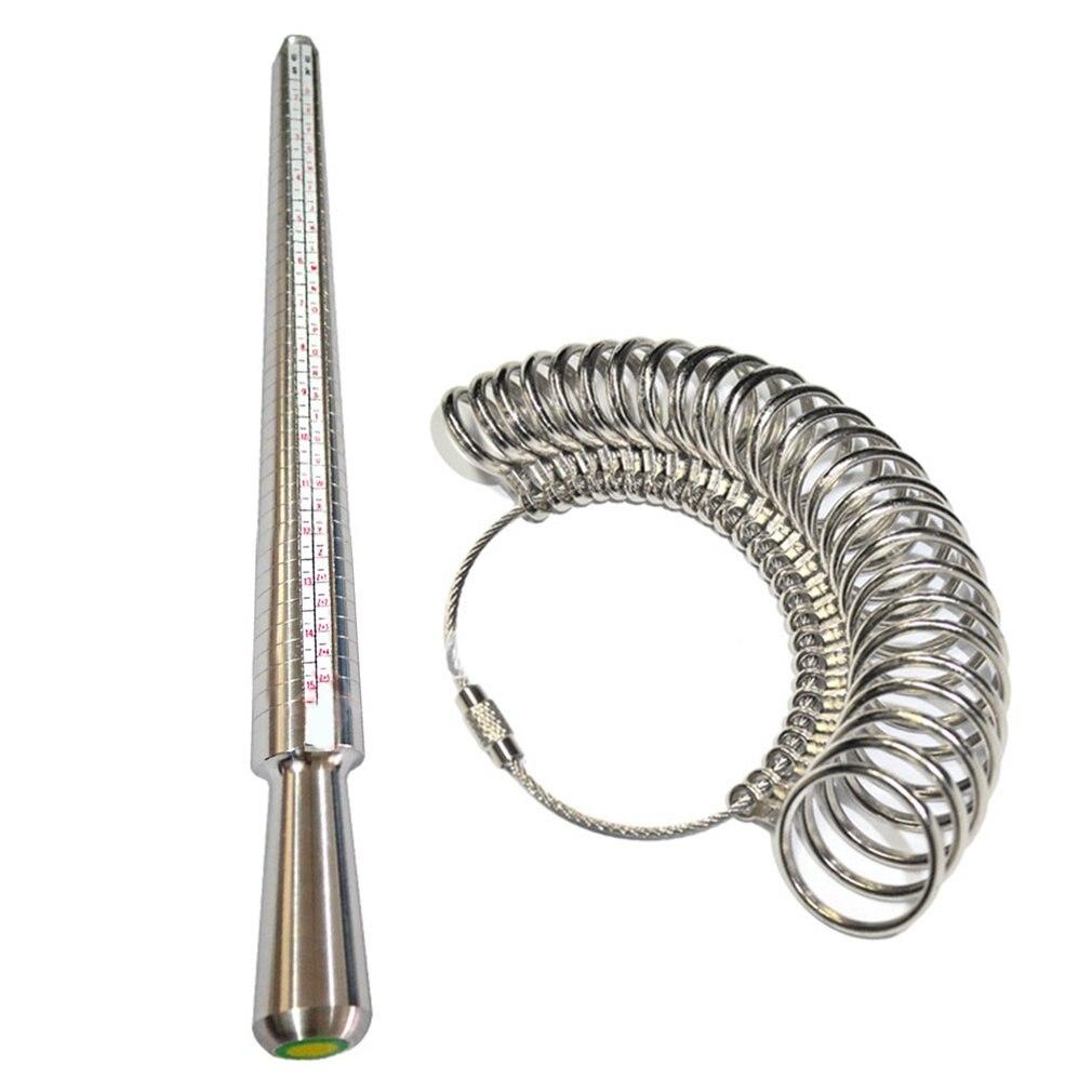 UK Metal Ring Sizer Guage Mandrel Finger Sizing Measure Stick Standard Tool