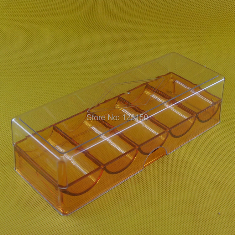 TA-016 Full Casino Sized Acrylic Plastic Poker Chip Brown Tray Holder + Clear Lid Cover
