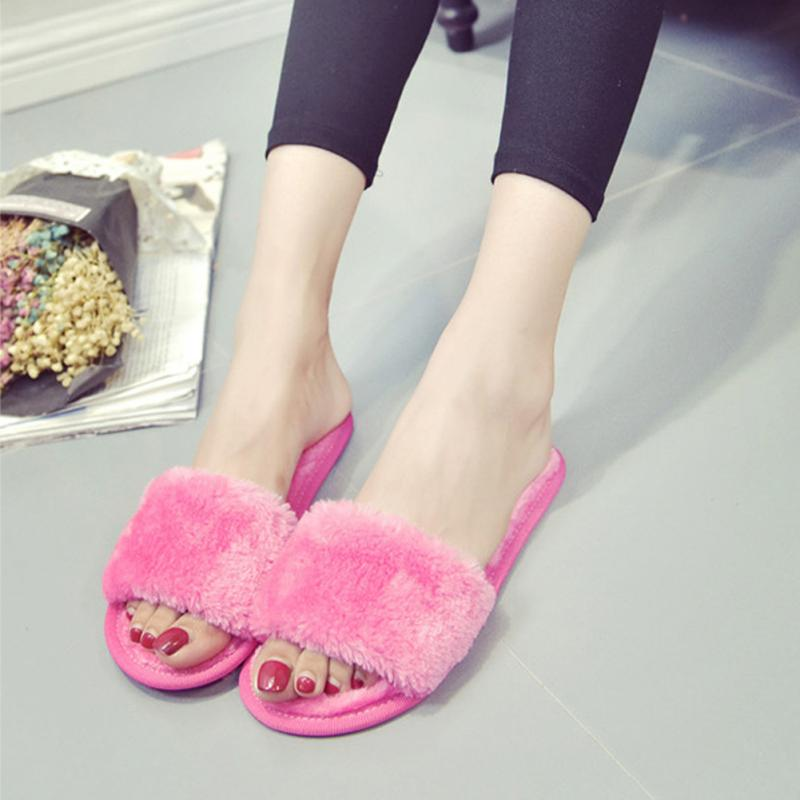 все цены на Autumn Winter Plush Slippers Women Home Indoor Soft Slippers Ladies Shoes Mules Comfortable Fur Slides Chaussure Femme Pink