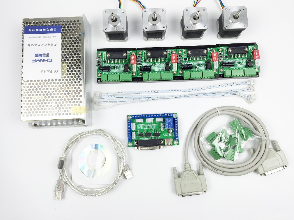 CNC Router mach3 4 Axis Kit, 4pcs TB6560 driver + 5 axis stepper motor controller + 4pcs nema17 1.8A motor + 24V power supply