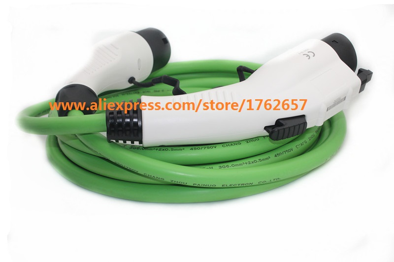 16A EV charger 5m green cord SAE J1772 to IEC 62196-2 type 1 to type 2 connector for electric vehicle charging station ev plug ev charging station power out outlets socket for electrical vehicle charging leads with 1m cable ev charging point