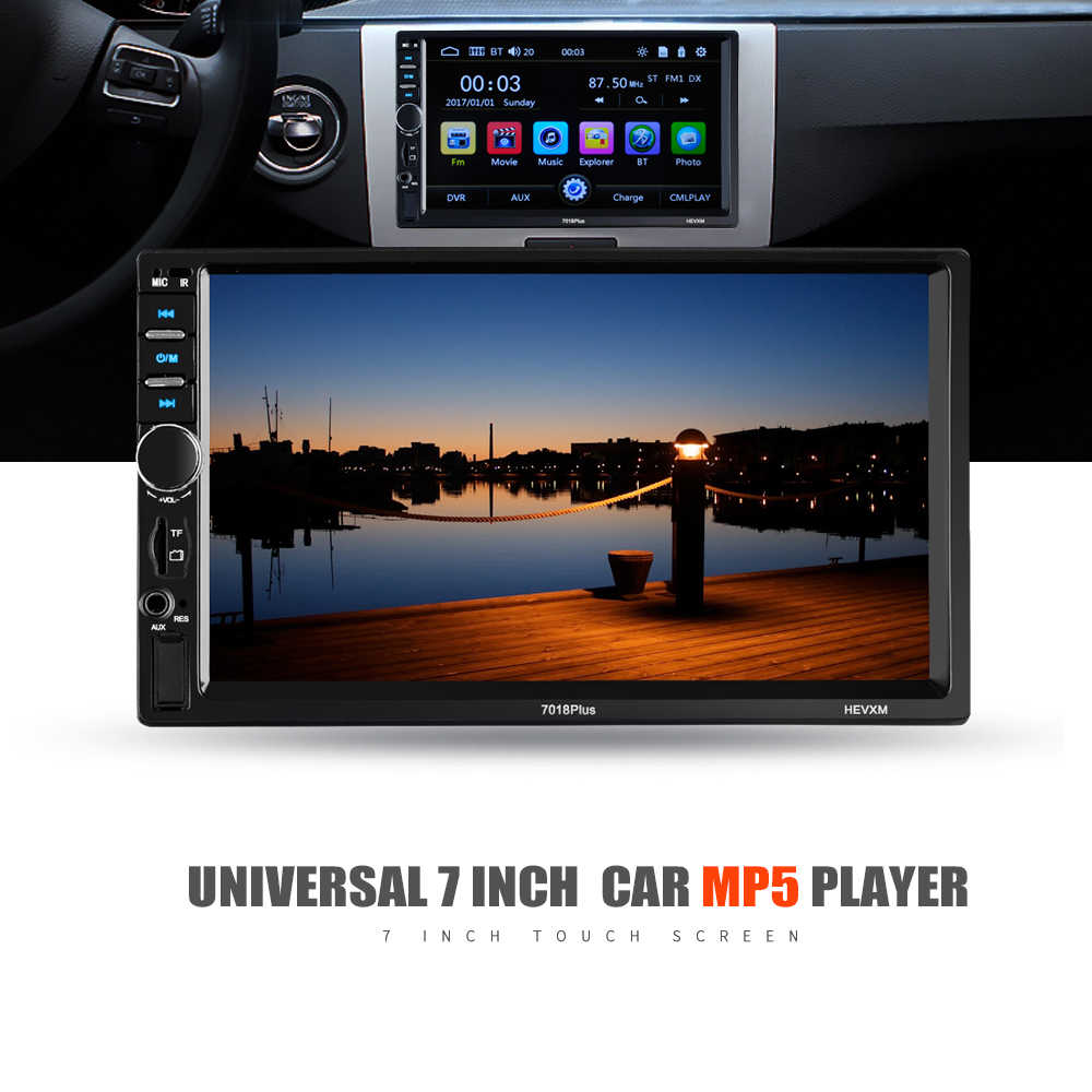 2 Din coche Radio 7 pulgadas Universal coche reproductor Multimedia HD Bluetooth MP5 reproductor Multimedia TF FM 7018PLUS
