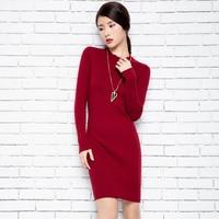 Wool Knitted Women Long Sweater Dress Autumn Winter Warm Casual Half Turtleneck Long Sleeve Red Green