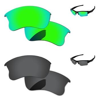 c5934ecc93 Negro y verde esmeralda 2 pares polarizadas lentes para Flak Jacket XLJ gafas  de sol marco 100% UVA y UVB protección