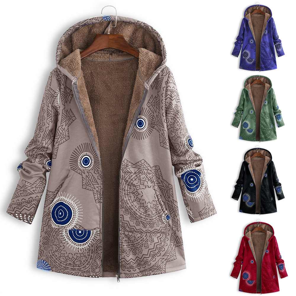 2019 Autumn/winter Jackets Women's Outerwear Plus-size Printed Hooded Plush Tops Women's Outerwear