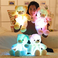 50cm  Music Playing Luminous Stuffed Bear Toy LED Light-Up Plush Doll Glow Teddy With Tie Pillow kidz girlfriend birthday Gift