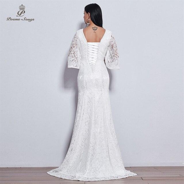 Poems Songs 2019 new elegant Flare sleeve style lace wedding dress for wedding Vestido de noiva Mermaid  ivory / white color 2