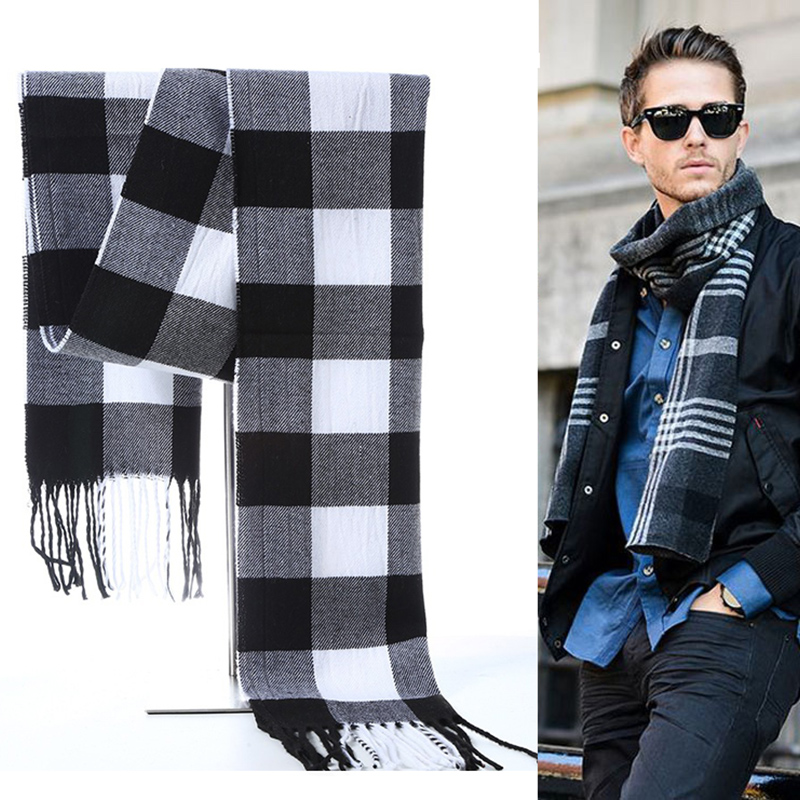 Apparel Accessories Wuaumx Vintage Autumn Winter Scarf Men Casual Scarves Male Thick Warm Muffler Soft Plaid Shawls High Quality Echarpe Homme 180cm