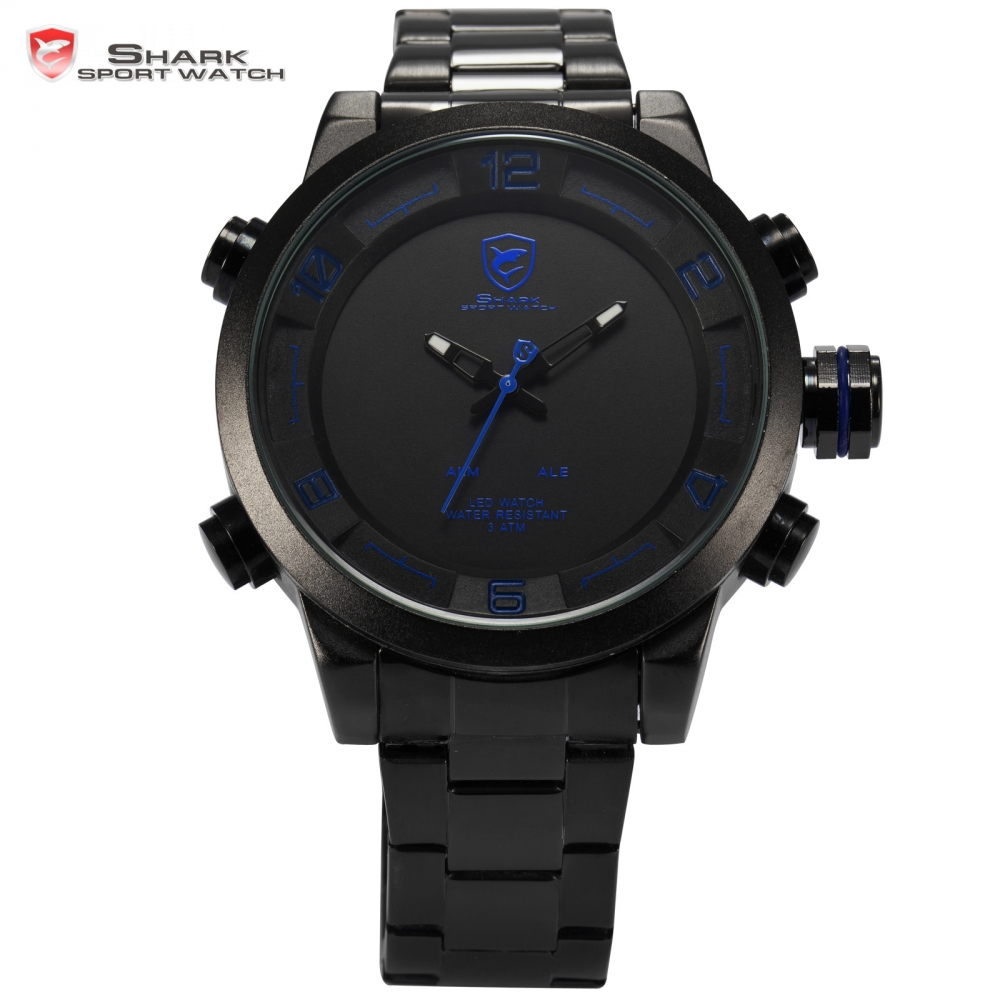 Brand Shark Sport Watch Relogio LED Tag Display Alarm Dual Time Full Steel Strap Clock Male Men Military Digital Watch / SH362 splendid brand new boys girls students time clock electronic digital lcd wrist sport watch