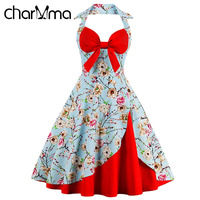 CharMma Halter Neck Floral Print Pin Up Dress Vintage A Line Sleeveless Bow Knee Length Midi
