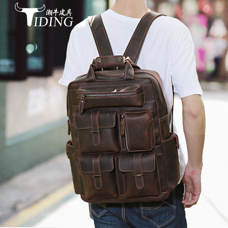 080818 newhotstacy high quality men leather vintage travel backpack