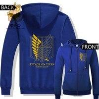 Hot anime Atak na titan Złoty kolor druk wolność skrzydło logo zipper swetry ciepłe swetry ac268