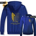 Hot anime Attack on titan Gold color printing freedom wing logo zipper hoodies warm hoodies  ac268