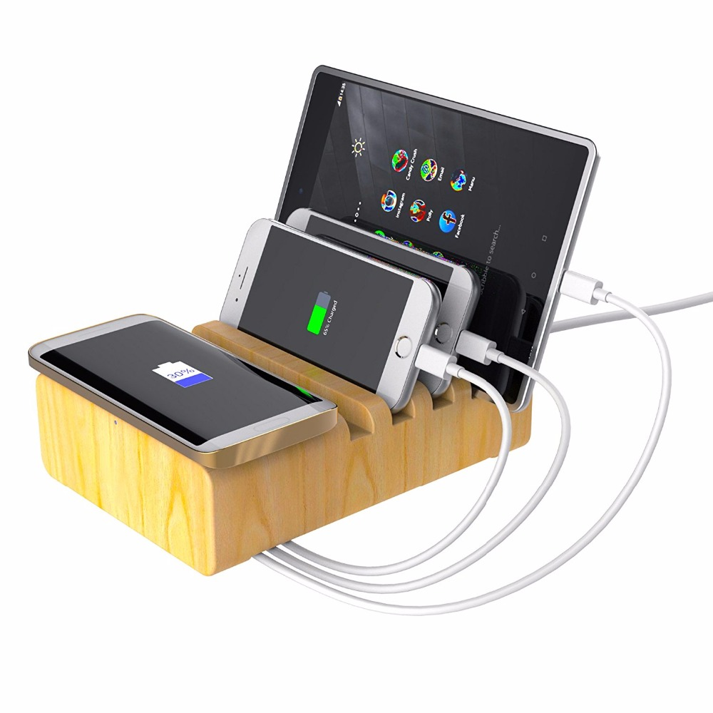 Wood Stand Multi Device Charging Station with Qi Wireless