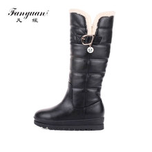 fanyuan Fashion Women Knee High Boots Winter Snow Boots Slip on Round Toe Wedges Heel Pu Leather Women Boots Size 34-43 new winter women black gray orange color round toe square heel slip on knee high boots elastic plus size knight long boots lady