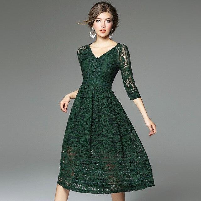 Abito di pizzo 2018 nuovo di alta qualità primavera estate Abbigliamento  donna elegante Vestito Da partito ee452dc0f26