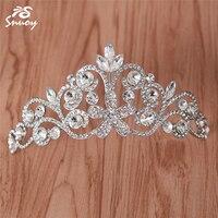 Snuoy Flower Bridal Hairpins Bridesmaid Hair Clips Silver Hairwear Party Girls Tiara Luxurious Crystal Rhinestone Crown HG744